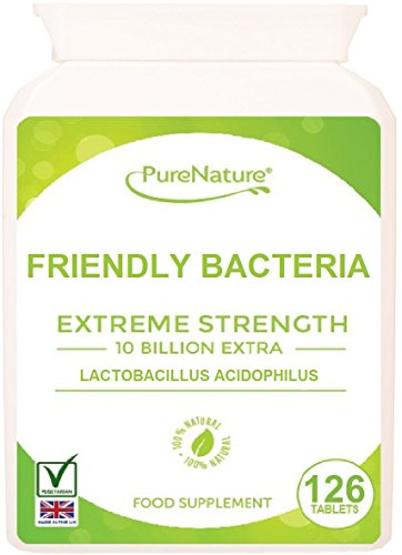 126 Lactobacillus-Acidophilus Double Strength 150 Billion/g providing 10 Billion CFUS Live Friendly Bacteria per Tablet   Easy to Swallow   4-5 Month Supply  Best 5 Star Quality for a Healthy & Happy Digestive System Naturally Free from Gluten & Gelatin  Suitable for Vegetarians  100% Quality Guarantee  FREE UK DELIVERY