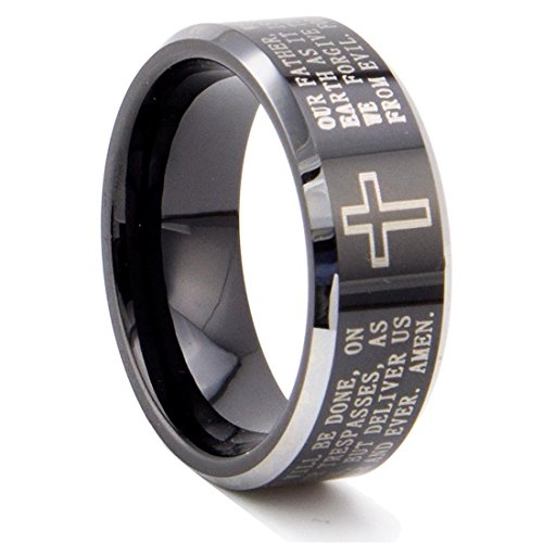 King Will Mens 8mm Black Tungsten Carbide Ring Lords Prayer Wedding Engagement Band Polished Finish
