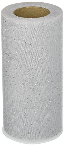 Expo Glitter Tulle Spool of 25-Yard, White/ Silver