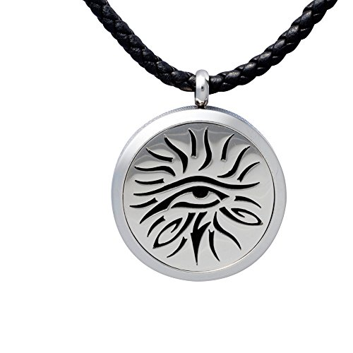 Aromatherapy Essential Oil Diffuser Necklace Jewelry ~ Eye Of Knowledge ~ Hypo-Allergenic 316L Surgical Grade Stainless Steel Locket Pendant Necklace