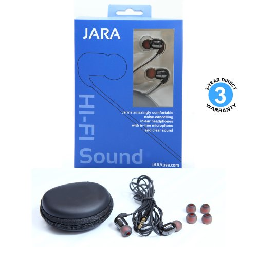 Jaras® Jumper Premium In-Ear Enhanced Bass Hi-Fi Noise Isolating Earbuds with In-Line-Microphone, Style Headphones