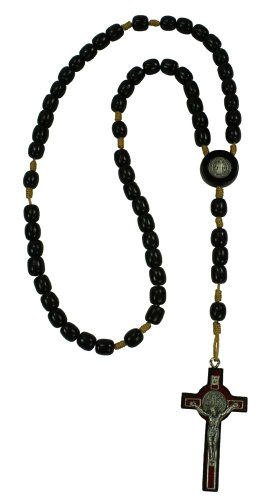 19 Large Black Wood St Benedict Rosary 2.5 Cross. Made in Brazil