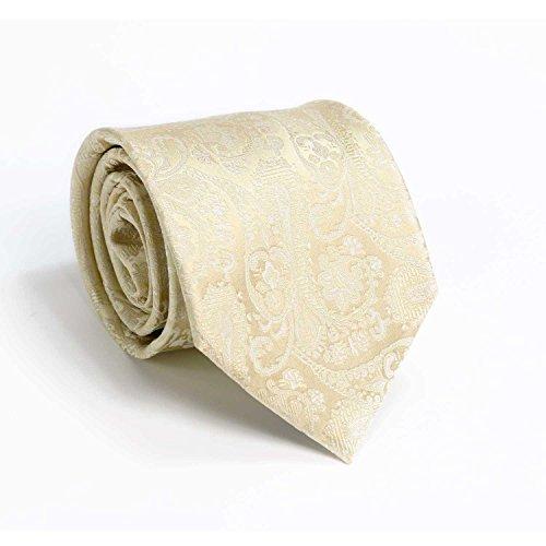 Landisun AF403 Beige White Paisley Mens Silk Neck Tie Set