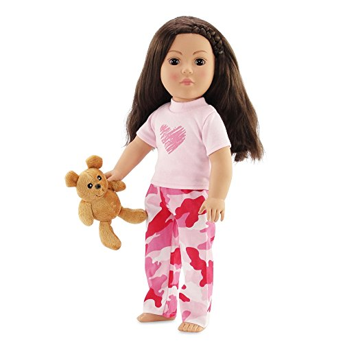 Fits American Girl 18 Camo Pajamas & Teddy Bear - 18 Inch Doll Clothes/clothing