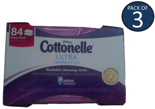 Cottonelle Ultra Comfort Care Flushable Cleansing Cloths Refill (Pack of 3) (Purple)