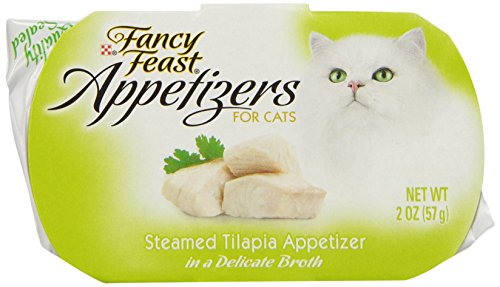 Fancy Feast Appetizers for Cats, Steamed Tilapia in a Delicate Broth, 2-Ounce Pouch, Pack of 10