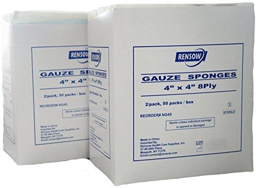 Rensow Sterile Gauze Sponges - 8 Ply - 4 X 4 - 2 Sponges Per Packlet