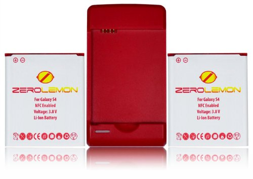 [180 days warranty] ZeroLemon 2x Samsung Galaxy S4 2650mAh Battery + NFC + World's Fastest Battery Charger with USB charge port WORLD'S LARGEST CAPACITY FOR ORIGINAL SIZE BATTERY + WORLD'S FASTEST WALL CHARGER (OUTPUT:600MA / USB OUTPUT 1000MA) NFC for S Beam and Google Wallet