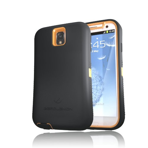[180 Days Warranty] Zerolemon Orange / Viper Black Zero Shock Series for Samsung Galaxy Note 3 N9000 - Covers All Battery Sizes - Worlds Only Universal Form Fitting Case. Rugged Hybrid Case Includes Belt Clip and Kickstand Usa Patent Pending