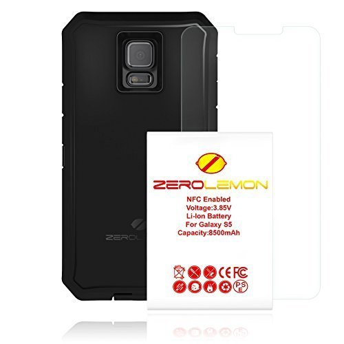 Zerolemon W2:Y332 S5-BAT-RUGGED-BLK-ZL 8500mAh Extended Battery with Rugged ZeroShock Case and Screen Protector for Samsung Galaxy S5 Versions - Black by ZeroLemon