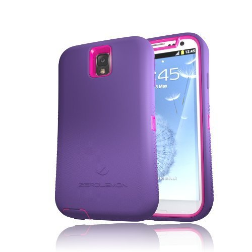 [180 Days Warranty] Zerolemon Hot Pink / Purple Zero Shock Series for Samsung Galaxy Note 3 N9000 - Covers All Battery Sizes - Worlds Only Universal Form Fitting Case. Rugged Hybrid Case Includes Belt Clip and Kickstand Usa Patent Pending