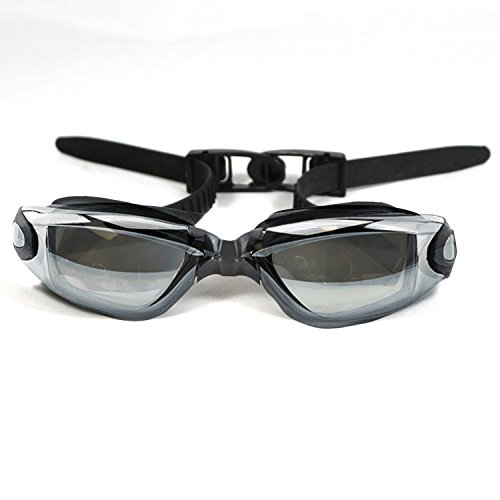 Sportly Adult Swim Goggles - Adjustable Anti-Fog Swimming Eye Glasses for Clear Underwater Vision, UV Protection, Stylish and Durable Sunglass Design - Black