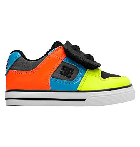 DC Footwear Kids Pure V Skate Sneaker (Toddler),Neon Yellow/Ocean,9 M US Toddler