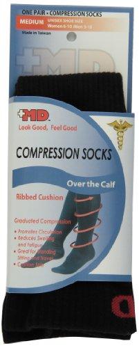 MD USA Ribbed Cotton Compression Socks with Cushion, Black, Medium