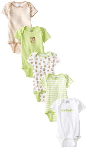 Gerber Unisex-Baby  Bear 5 Pack Variety Onesies Brand, Green/Brown, 6-9 Months