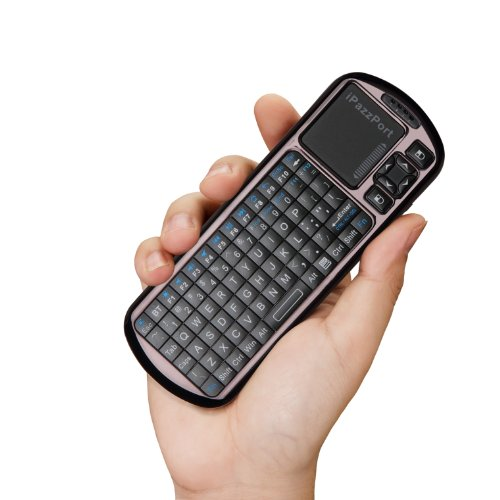 iPazzPort Commander Bluetooth Mini Wireless Keyboard and Multi Touchpad with Programmable IR Remote Control KP-810-18BR