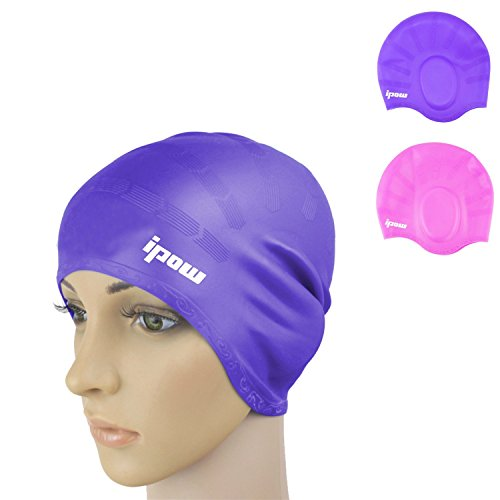 2 Pack,Ipow® Solid Silicone Long Hair Swim Cap for Men and Women, Pure Pink and Purple Color