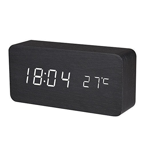 Wooden Digital Alarm Clock, Warmhoming Acoustic Control Clock with Time Temperature and Voice Control (Black)
