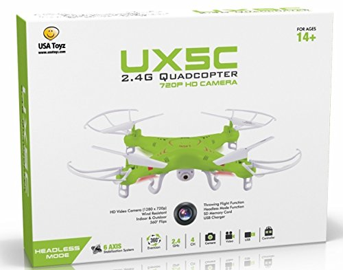 USA Toyz X5C RC Quadcopter Drone With Camera (720P HD) Headless Mode 2.4Ghz 4 Ch 6 Axis Gyro Rtf Includes Battery (Doubles Flying Time)