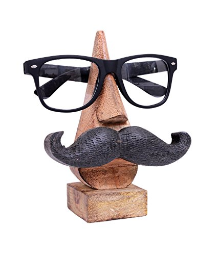 Witty Hand Carved Wooden Spectacle Holder with an Amusing Mustache Home Decorative