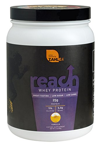 Zahlers Reach, Whey Protein Shake powder, advanced formula for Lean muscle build, all-natural weight management product, naturally sweetened and flavored, Certified Kosher, #1 best great delicious tasting Vanilla Flavor, 1.1 Pound