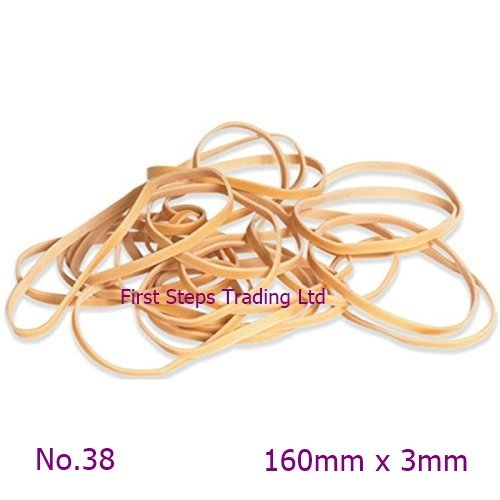 30 x Long 6.29 Rubber Elastic Bands 160mm x 3mm Long and Thin No.38