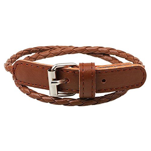 NIANPU Fashion Simple Clasp Leather Woven Multi-layer Winding Influx of Women Bracelet (Brown)