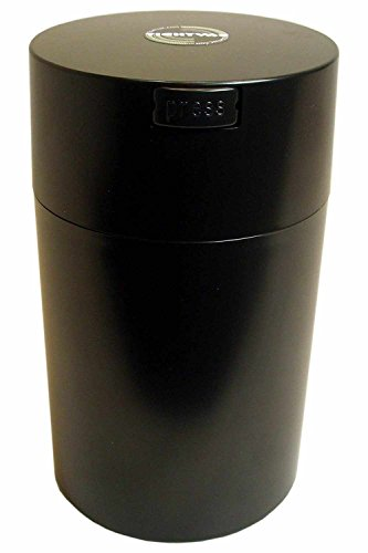 Tightvac 6-Ounce Vacuum Sealed Dry Goods Storage Container, Black Body/Cap
