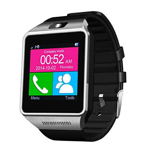 LeFun(TM) Gear Bluetooth Smart Watch Wrist Phone Cell Phone Watch Phone Mate For Android (Full functions) Samsung S3/S4/S5/Note 2/Note 3/Note 4 HTC Sony LG and iPhone 5/5C/5S/6/6 Plus (Partial functions)(Black)