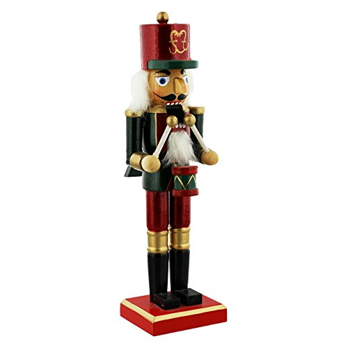 Traditional Wooden CHRISTMAS NUTCRACKER SOLDIER Decoration - RED, GREEN & GOLD DRUMMER - 24cm