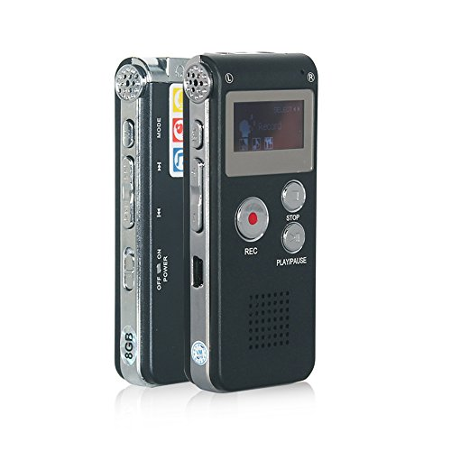 Btopllc Multifunctional Digital Audio Voice Recorder Rechargeable Digital Voice Recorder with Mini USB Port,MP3 Music Player & Dictaphone , Recording Telephone Conversations / Meetings / Interviews