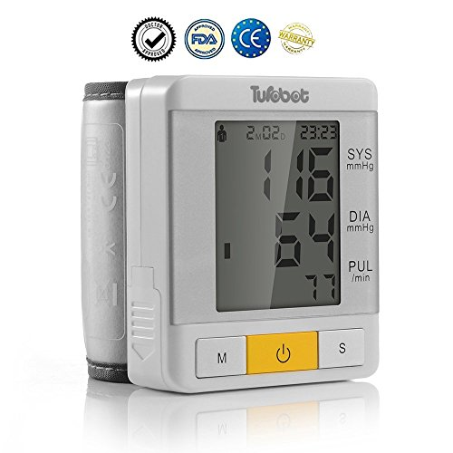 Blood Pressure Monitor, Turobot Wrist Digital Blood Pressure Cuff with Large LCD Display, 2 User Modes, 90 Memories, Irregular Heartbeat indicator and Average Last 3 Records
