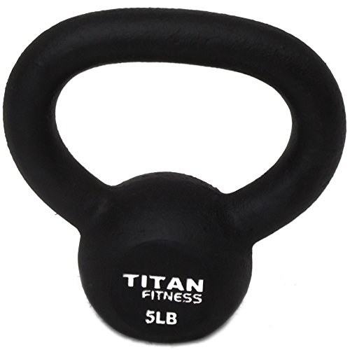 Cast Iron Kettlebell Weight 5 Lbs Natural Solid Titan Fitness Workout Swing