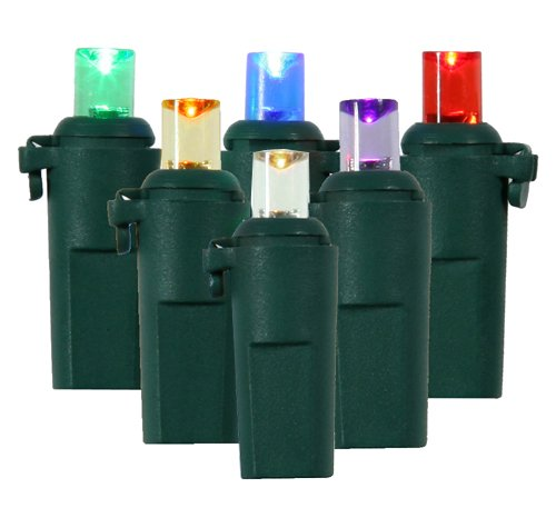 Pack of 12 Multi-Color LED Wide Angle Replacement Christmas Light Bulbs - Green Husk