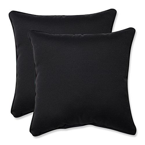 Pillow Perfect Indoor/Outdoor Fresco Corded Throw Pillow, 18.5-Inch, Black, Set of 2