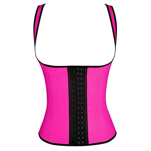 Fashion's Talk® Women's Sport Waist Trainer Latex Cincher Steel Boned Corsets 3 Hooks (Neon Pink Medium Us Size 6-8)