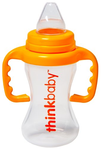 Thinkbaby BPA Free No Spill Sippy Cup, Orange/Natural, 9 Ounce