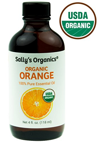 4oz USDA Certified Organic Orange Essential Oil - Cold Pressed and 100% Citrus Sinensis - Great for Aromatherapy, Homemade Cleaning Products, and as an Air Freshener