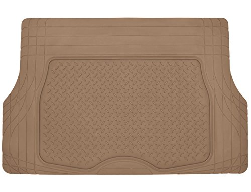 Motor Trend® Heavy Duty Rubber Cargo Mat Trunk Liner for Car SUV Auto (Beige) - Odorless All Weather