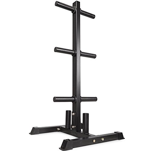 Titan Fitness Olympic 2 Weight Plate Rack Tree & Barbell Holder Organizer Stand