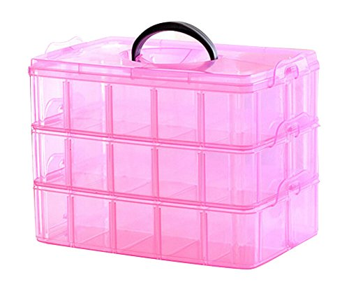 niceeshop(TM) 3 Layer Portable Plastic Nail Art Makeup Container Manicure Storage Boxes(Random Color)