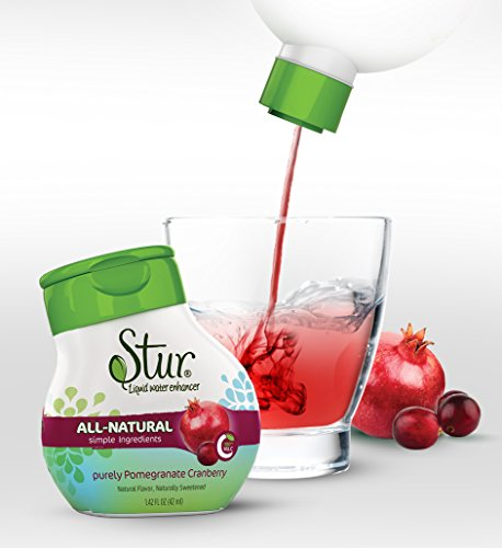 Stur - Pomegranate Cranberry (5pck) - ALL-NATURAL Stevia Water Enhancer ......makes 100 8oz. servings - drink mix. Non-GMO, natural fruit flavor, natural stevia leaf extract, sugar-free, calorie-free, preservative-free, 100% Vitamin C, liquid stevia drops. **Family Business, Happiness Guaranteed, You will Love Stur**