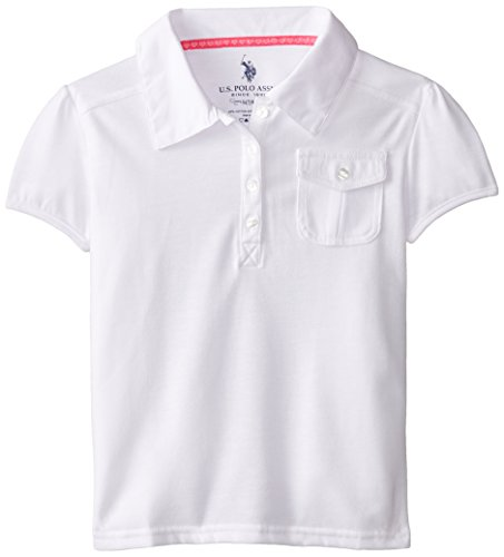 U.S. Polo Assn. Big Girls' Solid Jersey with Single Pocket, White, 7/8