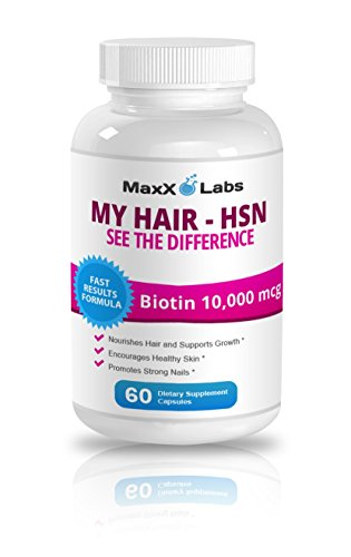 Hair Skin and Nails Vitamins (HSN) ? Best Biotin for Hair Growth ? Potent Biotin 10,000mcg Formula - It Works Nourishing Your Skin & Growing Strong Nails & Healthy Sexy Hair - 60 Gluten Free Capsules