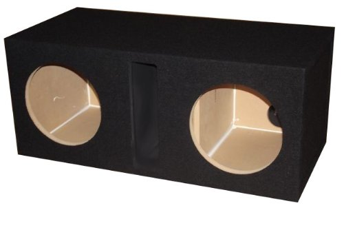 R/T - BLACK Dual 15 Slot Vented Sub Bass Hatchback Speaker Box with Labyrinth Power Port (MDF)