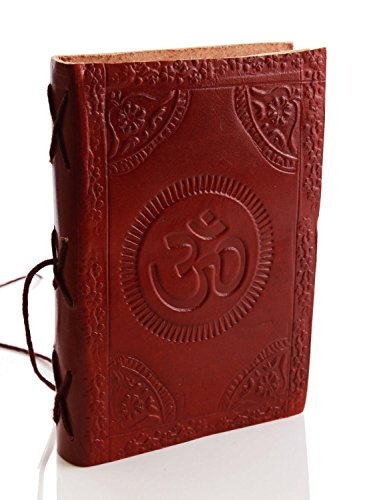 Handmade Leather Writing 75 Unlined Paper Notebook Diary Personal Secret Journal With  Om  Design