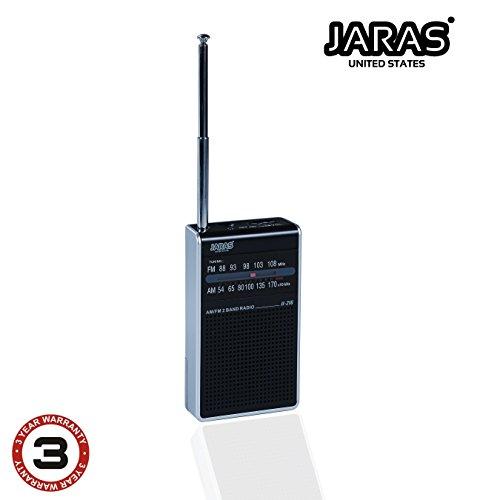 Jaras JJ-216 Pocket AM/FM Radio Built in Speakers & Headphone Jack FM Antenna