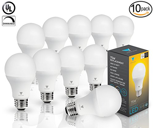 Triangle Bulbs (Pack Of 10) 12 Watt A19 LED Bulb, 75 Watt Incandescent Bulbs Replacement, 1055lm, Soft White, Dimmable,