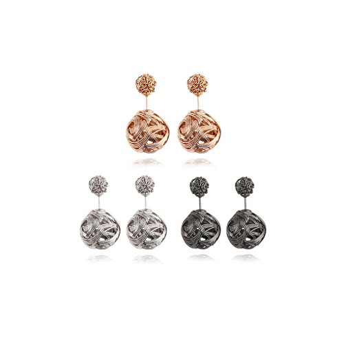 Shpere Wire Ball Double Sided Brass Silver Black Womens Stud Earrings