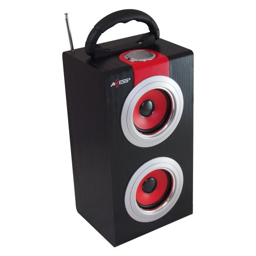 Axess SP1001-RD Red - Rechargeable box speaker with USB input, SD card and PLL FM. With remote control